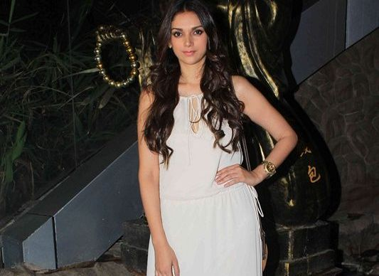 Aditi Rao Hydari in White Maxi Gown at Richa Chadha Birthday Celebration Party