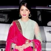 Anushka Sharma in Anarkali Churidaar Suits at Shirin Morani and Udhay Singh Wedding Reception