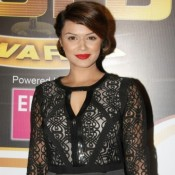 Aashka Goradia in Black Transparent Sleeve Short Gown at Zee Gold Awards 2014