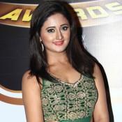 Rashmi Desai Hot In Green Silk Gown Dress at Zee Gold Awards 2014