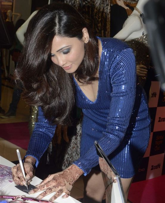 Daisy shah in Blue One Piece Dress at Launch Desperate Housewives Sin is In Bebe Store