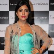 Shriya Saran in Sky Blue one Piece Dress at Harman Kardon Sound Lounge Launch