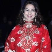 Juhi Chawla in Red Dress at Shirin Morani and Udhay Singh Wedding Reception