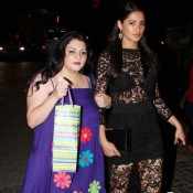 Nargis Fakhari in Black Lace Dress at Karan Johar 42nd Birthday Celebration Party