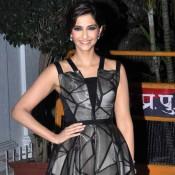 Sonam Kapoor in Black Gray Sleeveless Frock Pics at Karan Johar 42nd Birthday Celebration Party