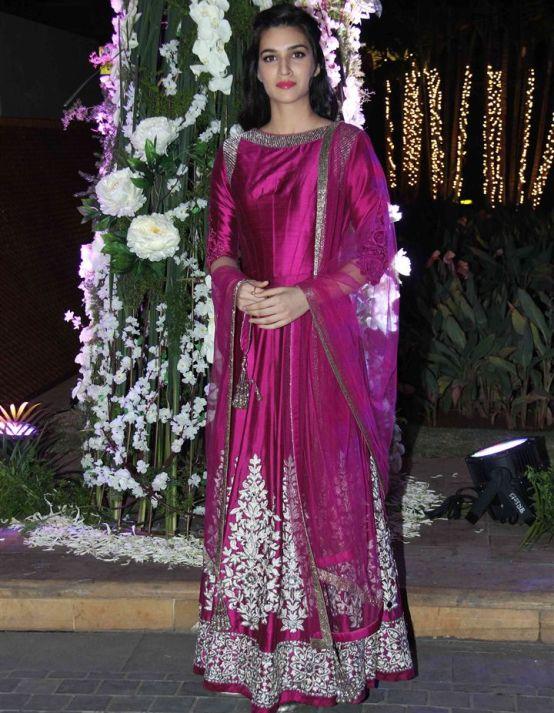 Kirti Sanon In Pink Floor Length Anarkali Suits At Rriddhi