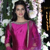 Kirti Sanon in Pink Floor Length Anarkali Suits at Rriddhi Malhotra Sangeet Ceremony