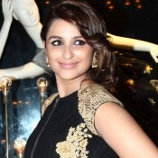 Parineeti Chopra in Black Golden Gown Dress Pics at Launch of Fashion Brand Diva`ni
