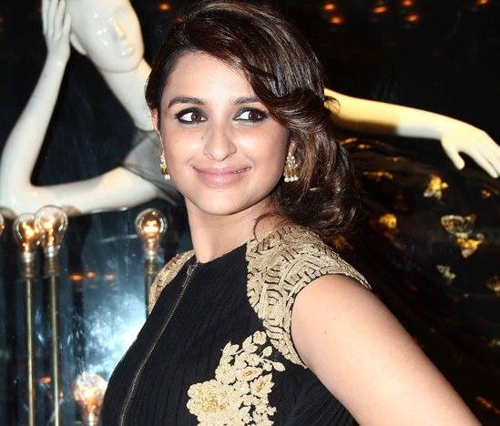 Parineeti Chopra in Black Golden Gown Dress Pics at Launch of Fashion Brand Diva`ni