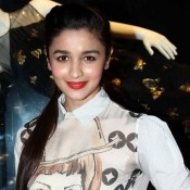 Alia Bhatt in White Pencil Skirt at Launch Of Fashion Brand Diva`Ni