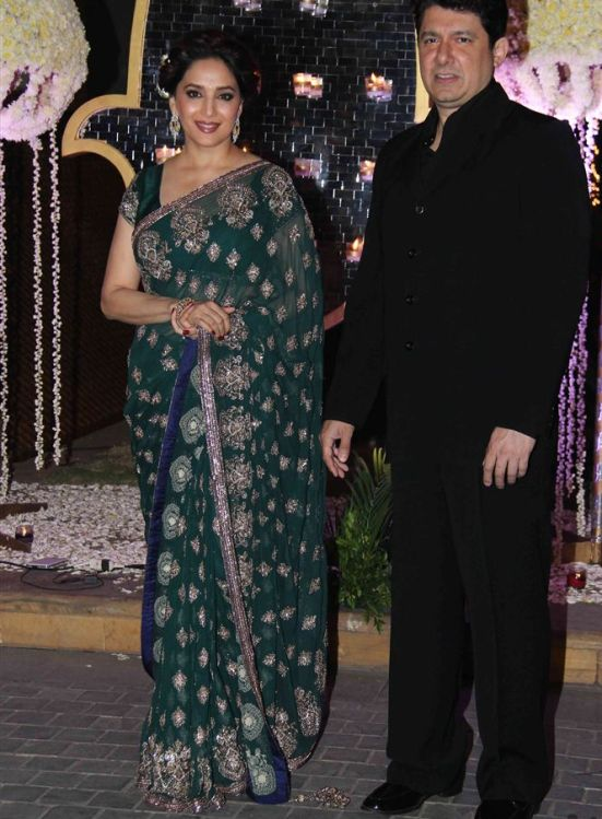 Madhuri Dixit In Green Embroidery Saree At Ridhi Malhotra