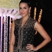 Neha Dhupia in Black Lehenga at Rriddhi Malhotra and Tejas Talwalkar Wedding Reception