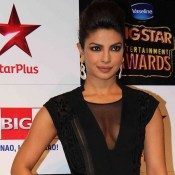 Priyanka Chopra in Black Zipper Gown at Big Star Entertainment Awards 2014