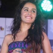 Shraddha Kapoor in off Shoulder Multi Color Gown