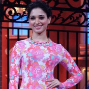 Tamannaah Bhatia in Pink Flower Print Dress for Promote Humshakals Movie