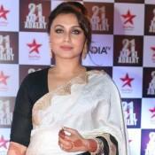 Rani Mukerji in White Grey Saree at Aap Ki Adalat 21 Years Celebration Event