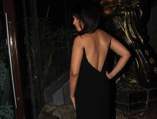 Richa Chadha in Black Backless Gown at Her 26th Birthday Celebration Party