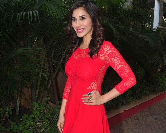 Sophie Choudry in Red Lace One Piece Dress at Country Club Press Meet