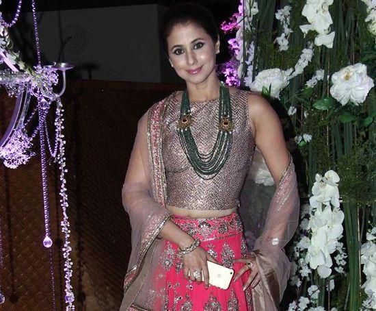Urmila Matondkar in Pink Silver Lehenga Choli for Riddhi and Tejas Sangeet Ceremony