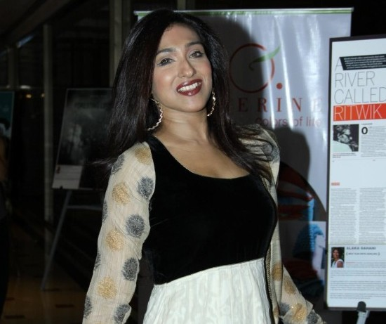 Rituparna Sengupta Hot Cleavage Show in White Black Anarkali Suits