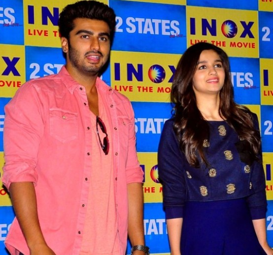 Alia Bhatt in Jumpsuit Blue Long Dress during 2 States Movie Promotion in Jaipur