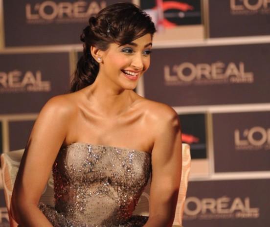 Sonam Kapoor in Off Shoulder Cream Short Frock Dress