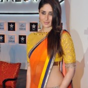 Kareena Kapoor Hot Navel Show Pics in Yellow Orange Saree
