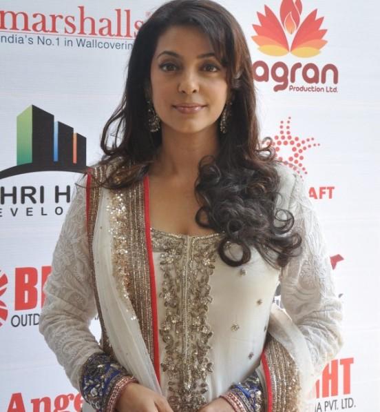 Juhi Chawla in Designer White Churidar Dress with Full Print Work at 145th Dadasaheb Phalke Awards Ceremony