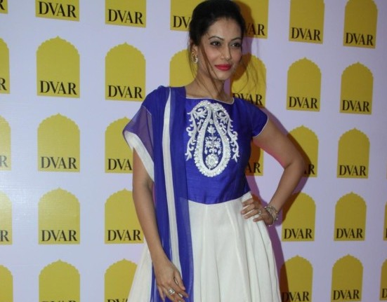 Payal Rohatagi in White Blue Anarkali Dress with Simple Earrings at Launch of DVAR Luxury Multi Designer Store Launch in Mumbai