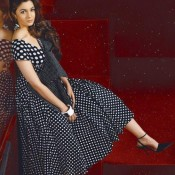 Alia Bhatt Hot Photoshoot for MAN Magazine March 2014 Issue Cover Page in Black and White Polka Dots Frock with High Heel Sandals