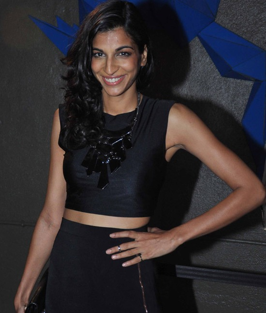 Anushka Manchanda Hot Armpits Shows in Black Costume at Bartender Album Launch
