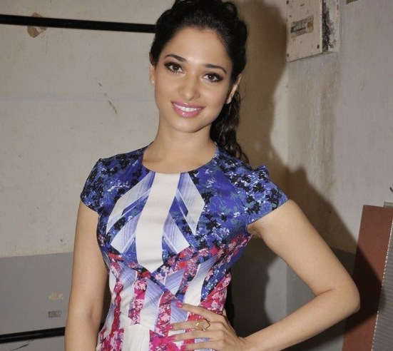 Tamannaah Bhatia in Printed Blue One Piece Dress