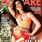 Jacqueline Fernandez in Orange Dress for Scans From Filmfare May 2014 Issue