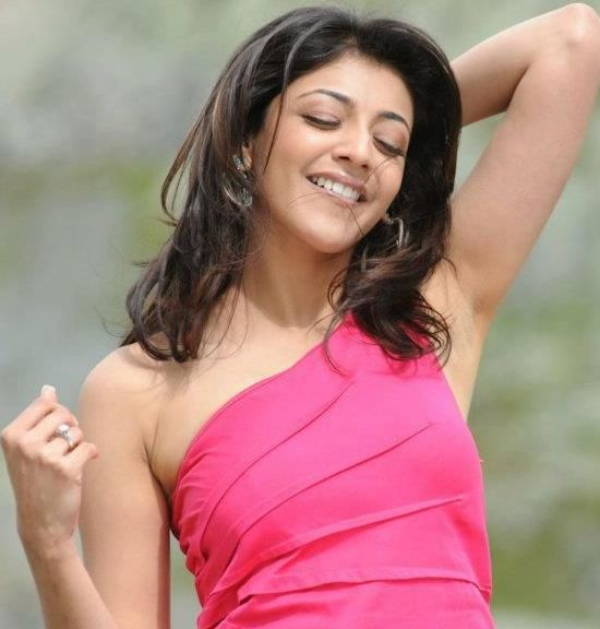 Kajal Agarwal Hot Armpit Photos in Pink Body Fitting Short Dress