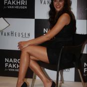 Nargis Fakhri Hot Legs Thigh Photos in Black Short Tight Dress