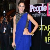 Nargis Fakhri Hot Navel in Saree – Cute Navel Show in Blue Saree Blouse