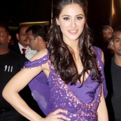 Nargis Fakhri Cute Armpits Show in Purple Western Outfits