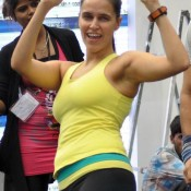 Neha Dhupia Hot Photos Cute Armpit Show Pics in Yellow Skin Tight T-shirt and Black Pant
