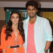 Alia Bhatt Hot in Orange Dress Long Evening Gown at Lucknow for 2 States Movie Promotion