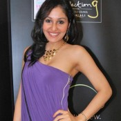 Pooja Chopra Cute Armpit Show Pics in Purple Gown having Side Zip Style