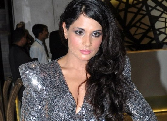 Richa Chadda in Open Front Grey Dress Shows Hot Cleavage Pics Cool Images in Open Hair Style