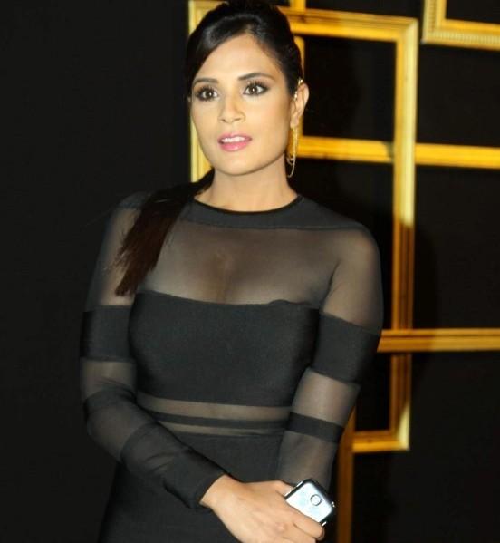 Richa Chadda in See Through Black Dress at Deepika Padukone hosed Black and Gold theme Success Party