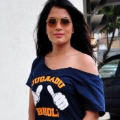 Richa Chadda in One Side Open Shoulder Blue T-Shirt Paired with Very Tight and Extremely Short Skirt