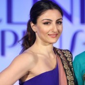 Soha Ali Khan Armpit Pics Hot Photos in Blue One Shoulder Gown