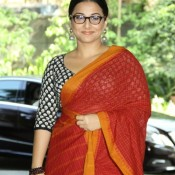 Vidya Balan in Red Cotton Saree at Whistling Woods Celebrate Cinema Event