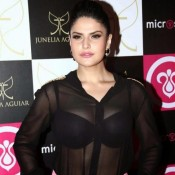 Zarine Khan in Black Transparent Shirt Photos