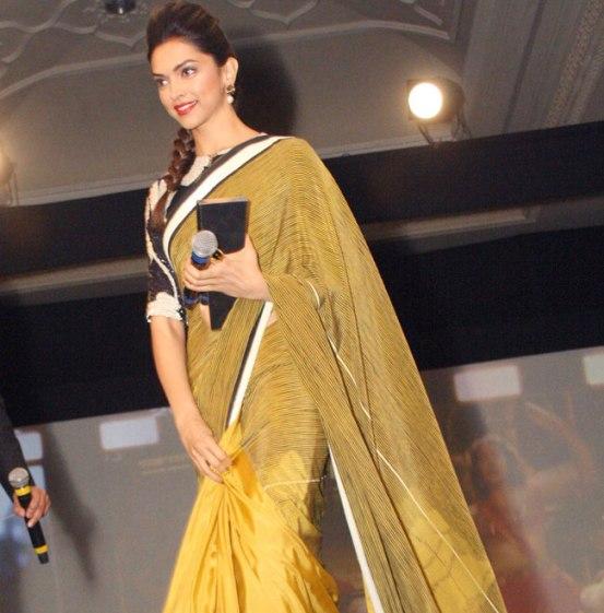 Deepika Padukone Hot in Yellow Gold Saree Pics - Chinki Pinki