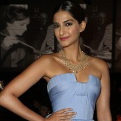 Sonam Kapoor in Sky Blue Strapless Dress Gown at Cannes Party 2014