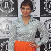 Huma Qureshi in Orange Long Skirt at Launch The Ash Haute Couture Store