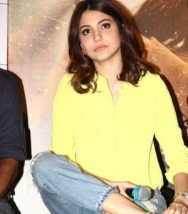 Anushka Sharma in Yellow Top at NH 10 Trailer Launch in Mumbai